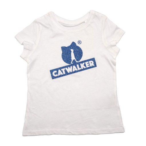 weißes T-Shirt mit blauem Glitzer